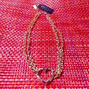 GUESS Rose Gold 18/20 Chain Heart Toggle Necklace